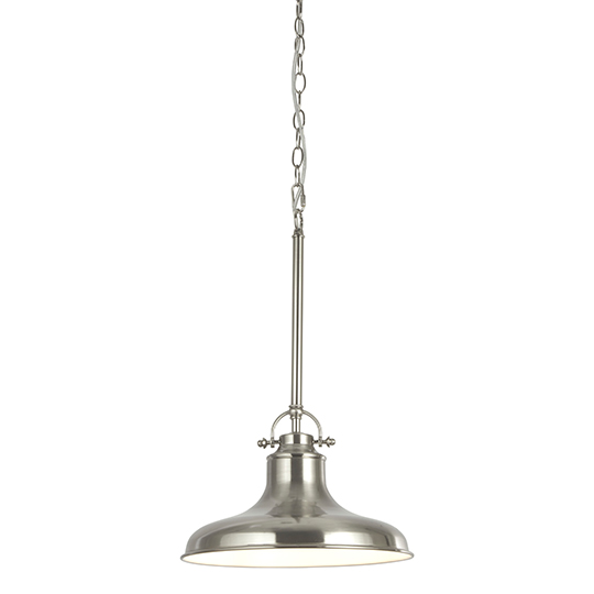 View Dallas 1 light industrial pendant ceiling light in satin silver