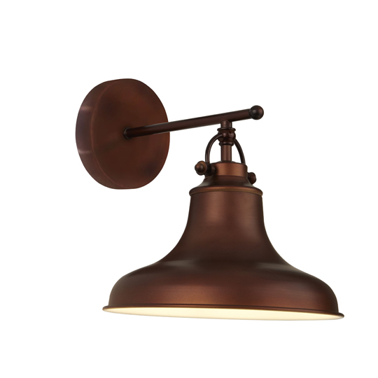 View Dallas 1 light industrial wall light in antique brown