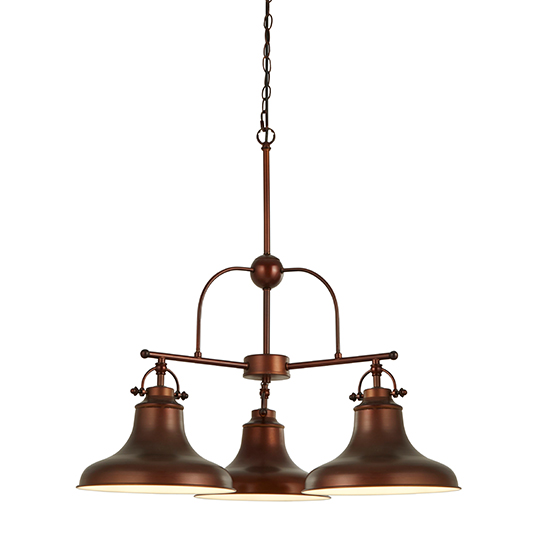 Dallas 3 Lights Industrial Pendant Ceiling Light In Brown