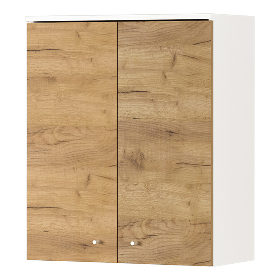 Dallas Wall Bathroom Storage Cabinet In White And Navarra Oak