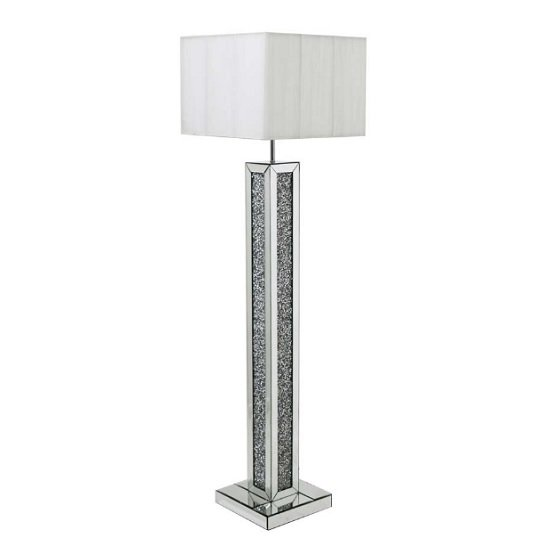 Dalphine Floor Lamp In Cream Shade With Mirrored Panel