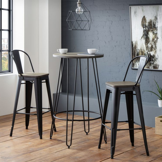Dalston Bar Set In Mocha Elm With 2 Grafton Bar Stools