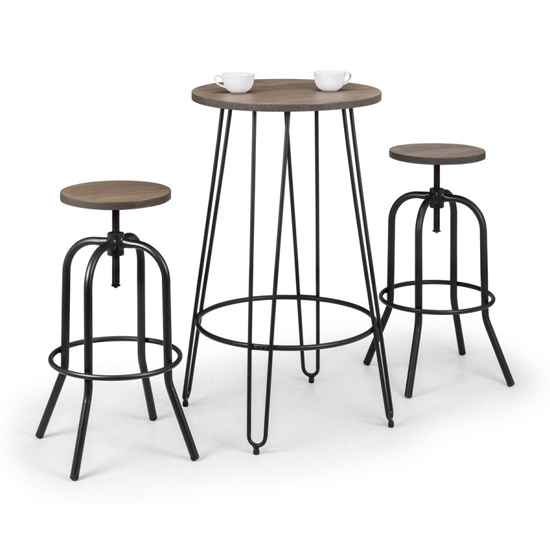 Dalston Bar Set In Mocha Elm With 2 Spitfire Stools_2