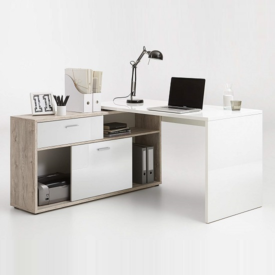 Dalton Corner Computer Desk In Sand Oak And Gloss White_1