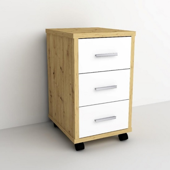 Dalton Office Cabinet In Artisan Oak And White With 3 Drawers