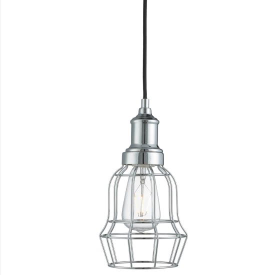 Dama Modern Ceiling Pendant Light In Chrome Bell Cage
