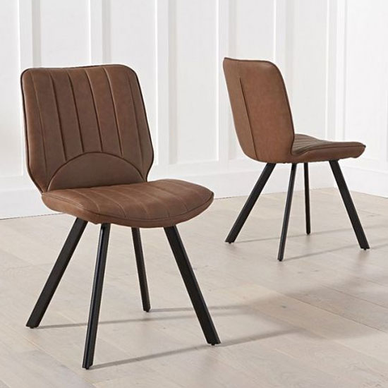 Damanti Brown Faux Leather Dining Chairs In A Pair