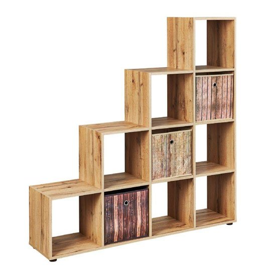 Damian FSC Display Shelves In Wotan Oak With 10 Compartments