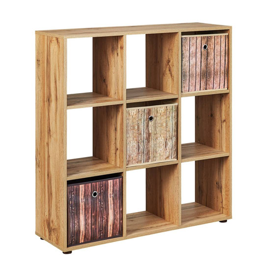 Damian FSC Display Shelves In Wotan Oak With 9 Compartments