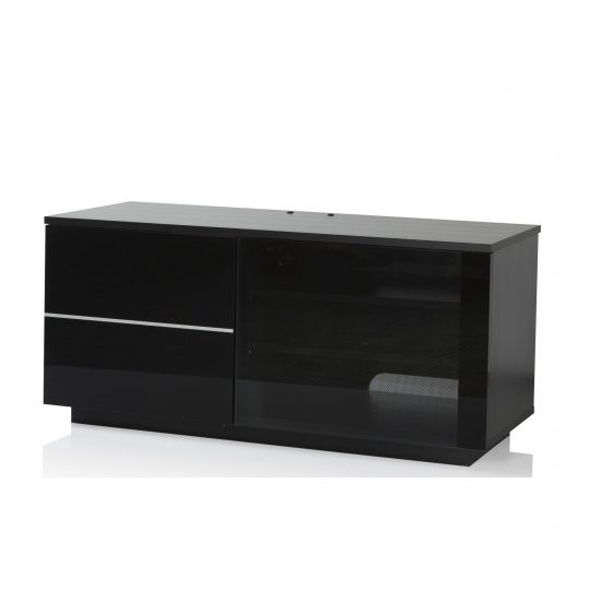 Damon Modern TV Stand In Black With Glass And Gloss Doors