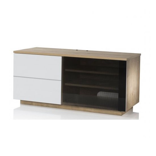 Damon Modern TV Stand In Oak With Glass And White Gloss Doors