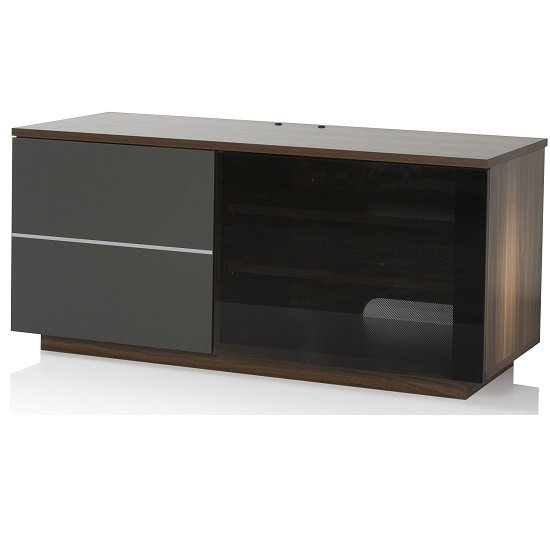 Damon Modern TV Stand In Walnut With Glass And Matt Grey Doors