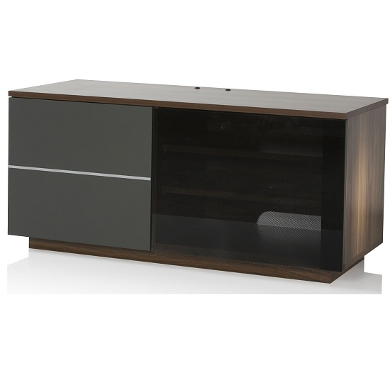 Image of Damon Modern TV Stand In Walnut With Glass And Matt Grey Doors