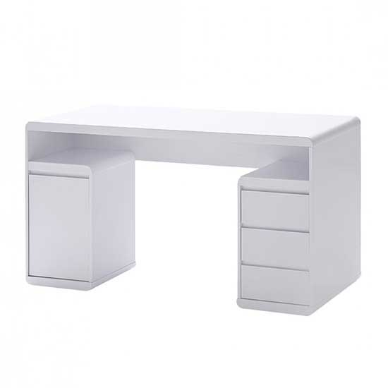 Daniele Computer Desk In White High Gloss With Storage Ebay