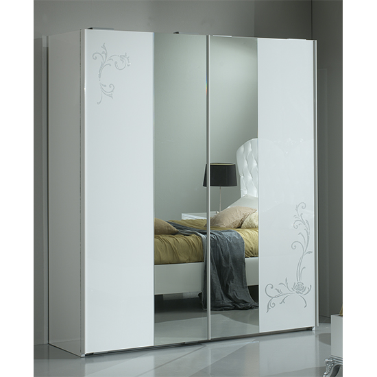 Daniela Sliding 2 Doors Wardrobe In White High Gloss And Silver