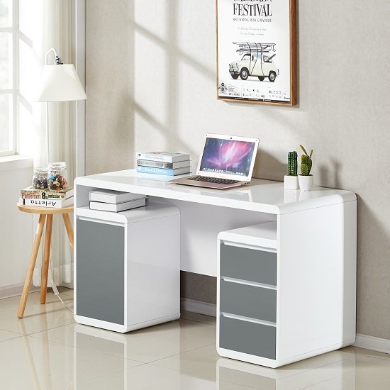 Floine Computer Desk In White And Grey High Gloss