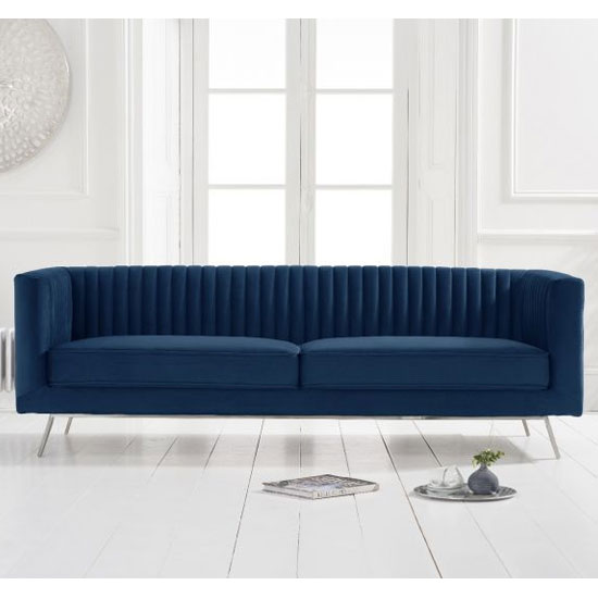 Danielle Velvet 3 Seater Sofa In Blue_2