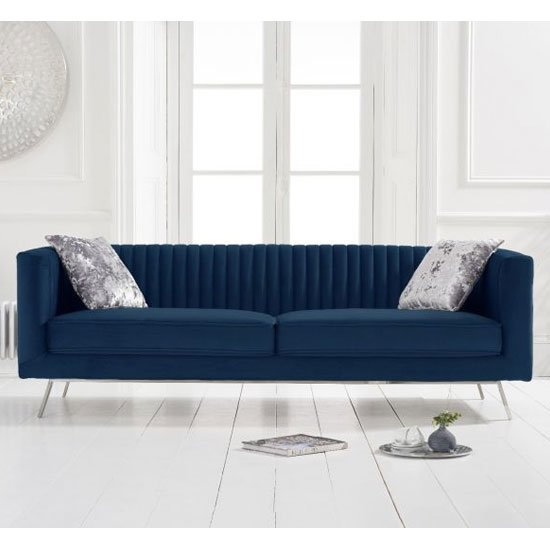 Danielle Velvet 3 Seater Sofa In Blue_1