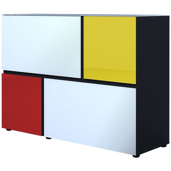 Danish Glass Chest of drawers In Multicolour With 4 Doors