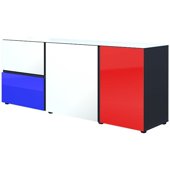 Danish Glass Sideboard In Multicolour With 3 Doors