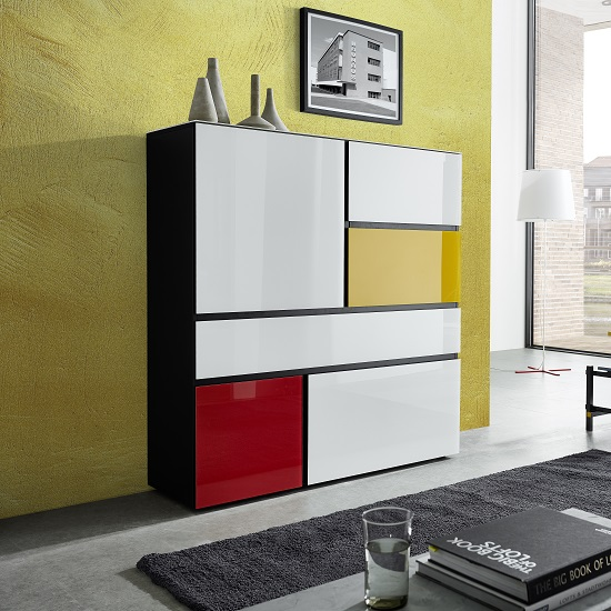 Danish Glass Highboard In Multicolour With 4 Doors_1