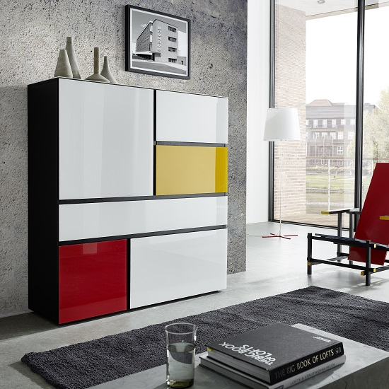 Danish Glass Highboard In Multicolour With 4 Doors_2