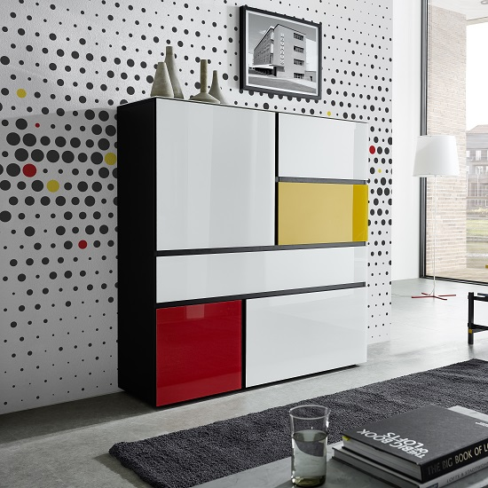 Danish Glass Highboard In Multicolour With 4 Doors_3