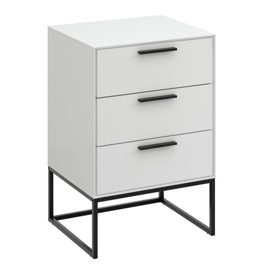 Read more about Dano bedside cabinet in white with 3 drawers and metal frame