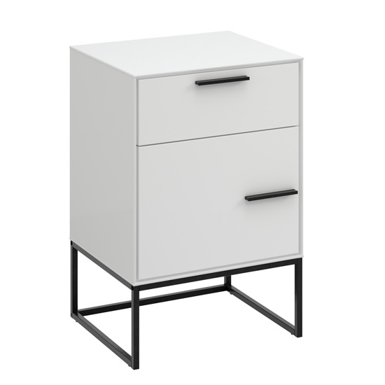 Dano Bedside Cabinet In White With 1 Door And Metal Frame