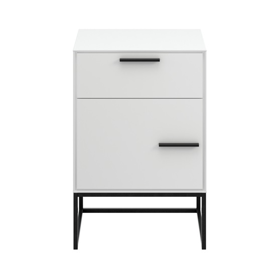 Dano Bedside Cabinet In White With 1 Door And Metal Frame_2