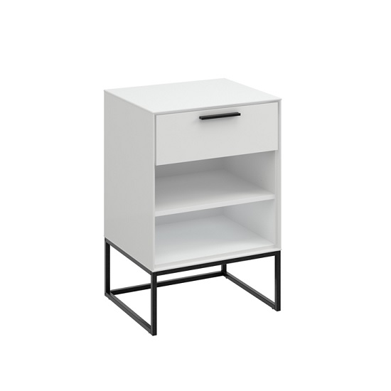 Read more about Dano bedside cabinet in white with 1 drawer and metal frame