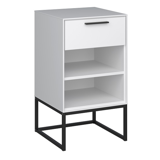Dano Bedside Cabinet In White With 1 Drawer And Metal Frame