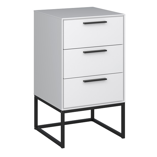 Dano Bedside Cabinet In White With 3 Drawers And Metal Frame