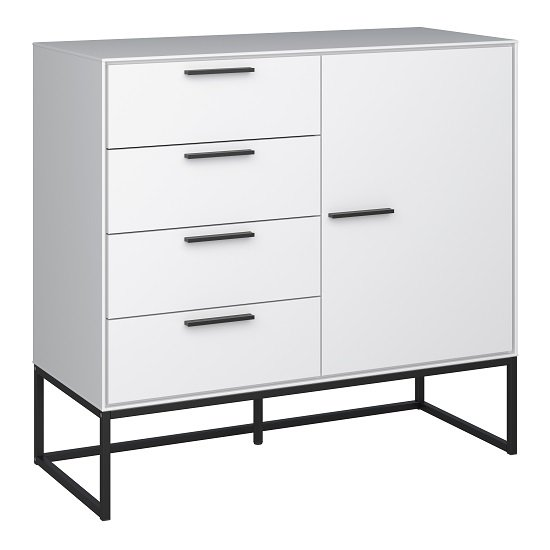 Dano Storage Cabinet In White With 1 Door And Metal Frame