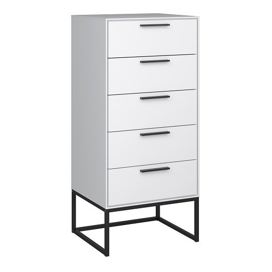 Dano Chest Of Drawers In White With 5 Drawers And Metal Frame