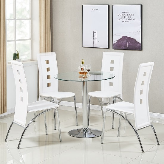 Dante Glass Dining Table In Clear With 4 Bellini White Chairs