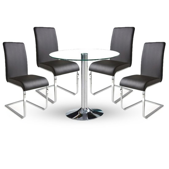 Dante Dining Table In Clear Glass With 4 Lotte Black Chairs_1