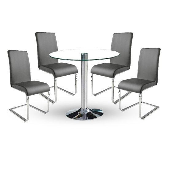 Dante Dining Table In Clear Glass With 4 Lotte Grey Chairs