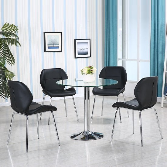 Dante Glass Dining Table In Clear With 4 Black Dinky Chairs