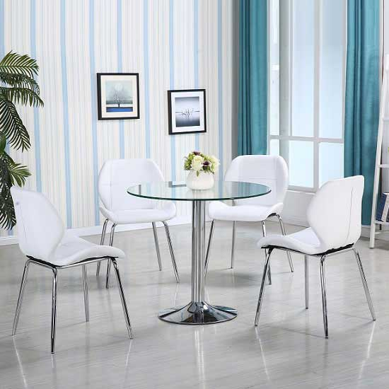 Dante Glass Dining Table In Clear With 4 White Dinky Chairs