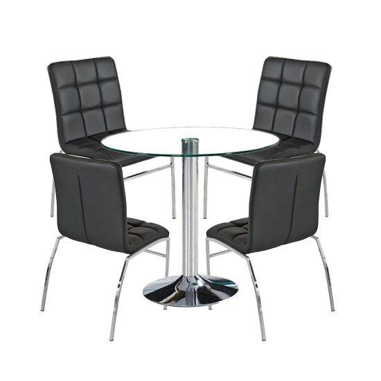 Dante Round Glass Dining Set With 4 Black PU Leather Coco Chairs_1