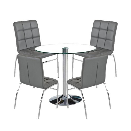 Dante Round Glass Dining Set With 4 Grey PU Leather Coco Chairs