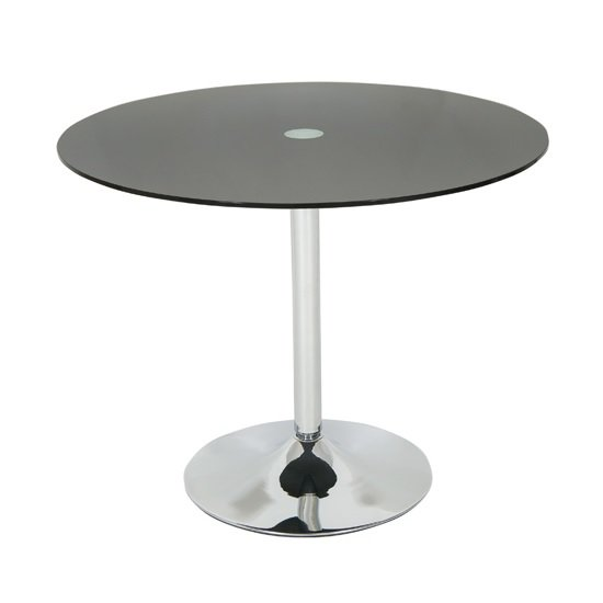 Dante glass dining table round in black with chrome base for Round glass and chrome dining table