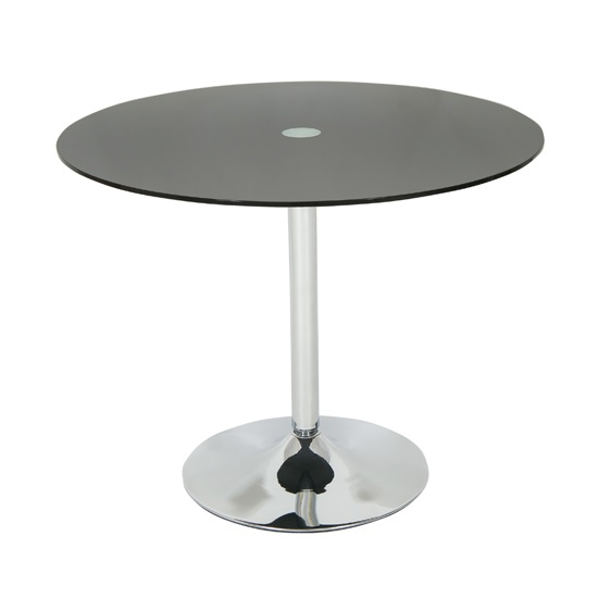 Dante Glass Dining Table Round In Black With Chrome Base