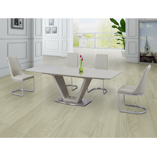 Danton Glass Extendable Dining Set Cream Gloss And 6 Roxy Chairs