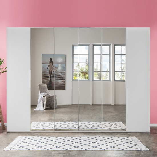 Danzig Mirror Wardrobe Large In White With Revolving Doors