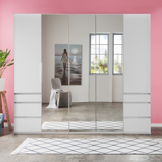 Danzig Mirrored Wardrobe In White With 5 Doors And 6 Drawers