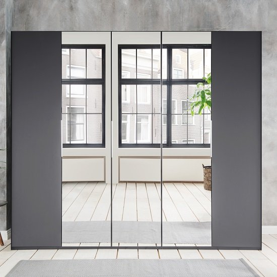 Danzig Modern Mirrored Wardrobe In Graphite With 5 Doors_1