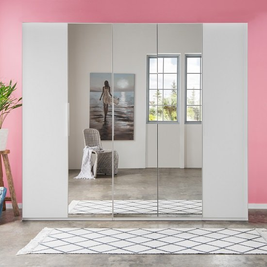 Danzig Modern Mirrored Wardrobe In White With 5 Doors