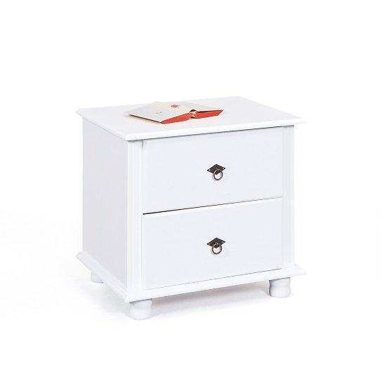 Read more about Danzig wooden bedside cabinet in white with 2 drawers
